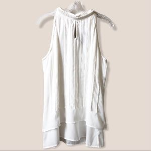 New Pintuck Off-White Peal beading collar blouse L